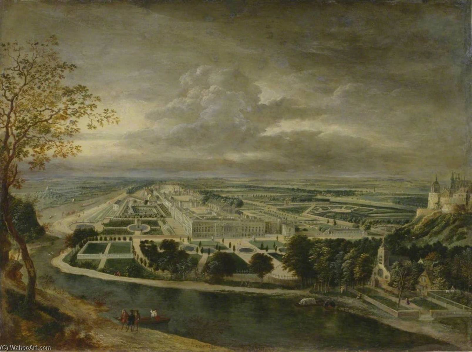 View of Hampton Court Palace, 1710 by Jan Griffier (1652-1718, Netherlands) | Painting Copy | ArtsDot.com