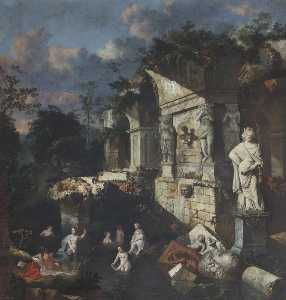 Jan Griffier - Classical Ruins with Diana and Nymphs Bathing
