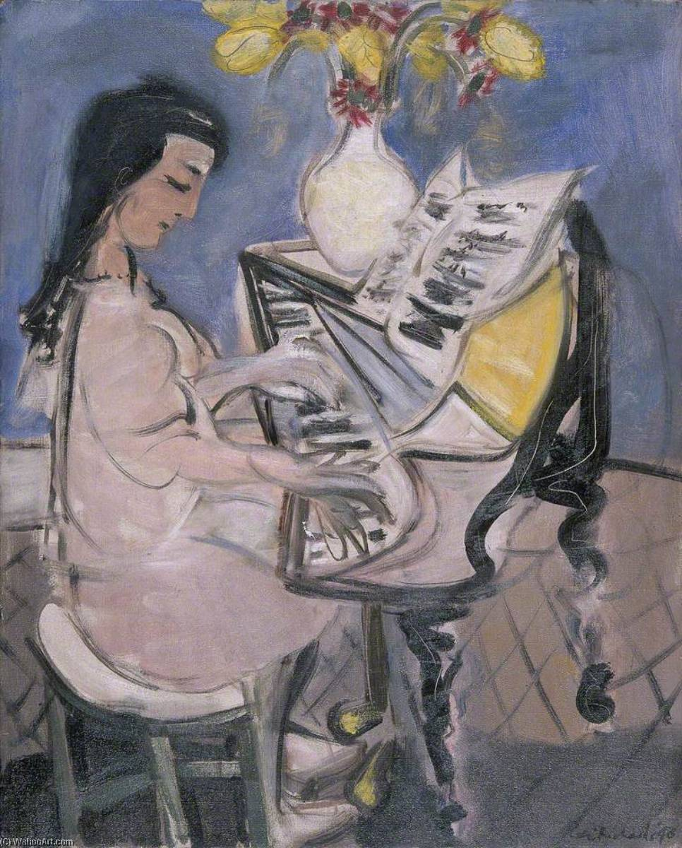 The Pianist, 1948 by Ceri Giraldus Richards (1903-1971, United States) | Art Reproduction | ArtsDot.com
