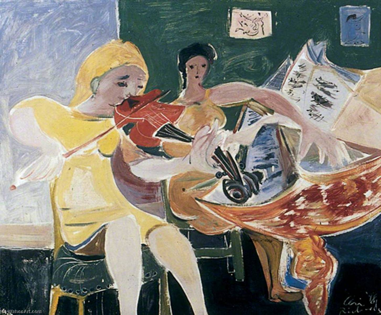 The Violinist, 1948 by Ceri Giraldus Richards (1903-1971, United States) | Museum Quality Reproductions | ArtsDot.com
