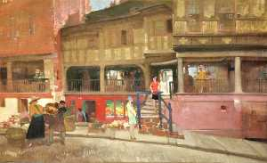 William Russell Flint - South Side of Watergate Street, Chester