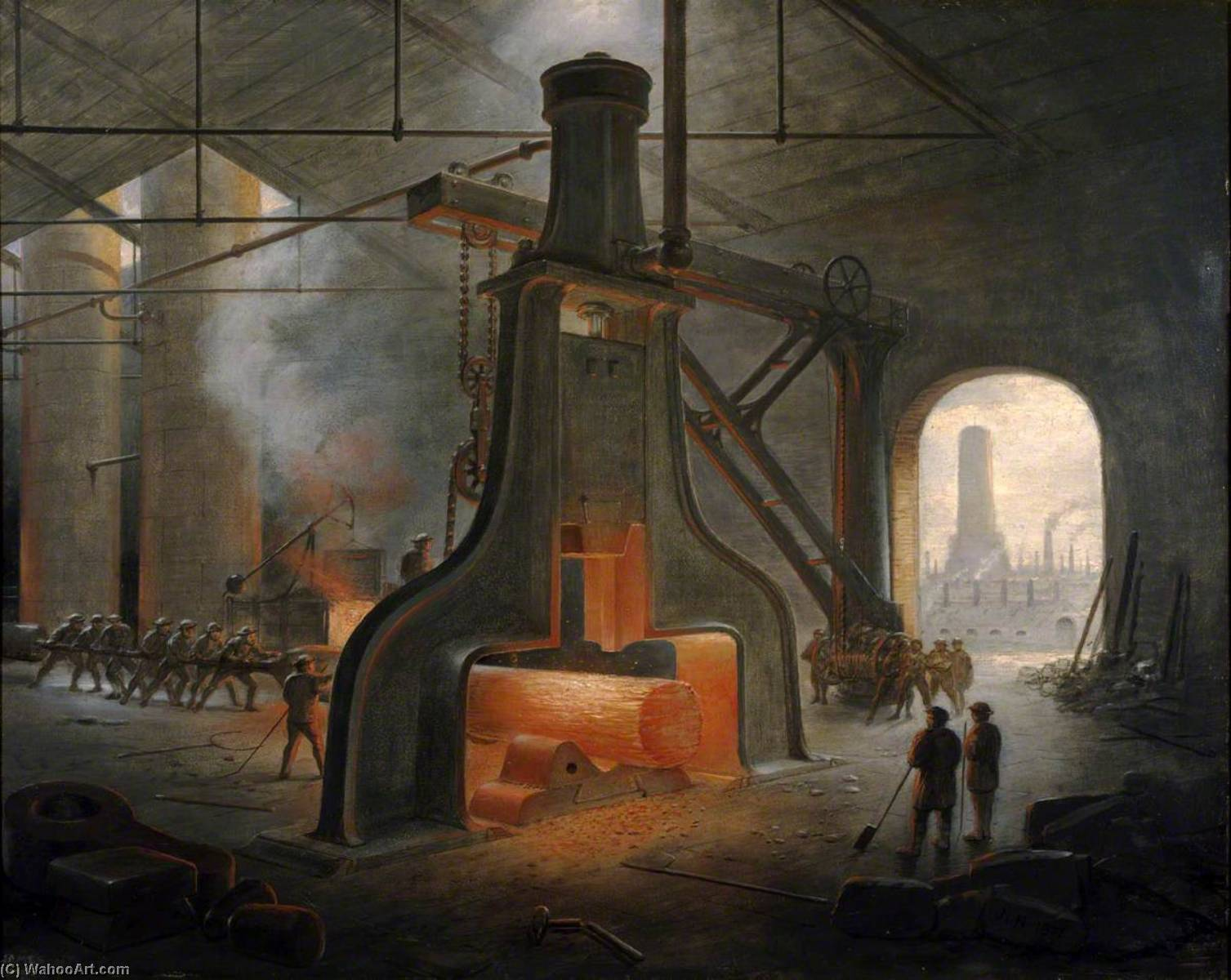 A Steam Hammer at Work, 1871 by James Nasmyth (1808-1890, Scotland) | Museum Art Reproductions James Nasmyth | ArtsDot.com