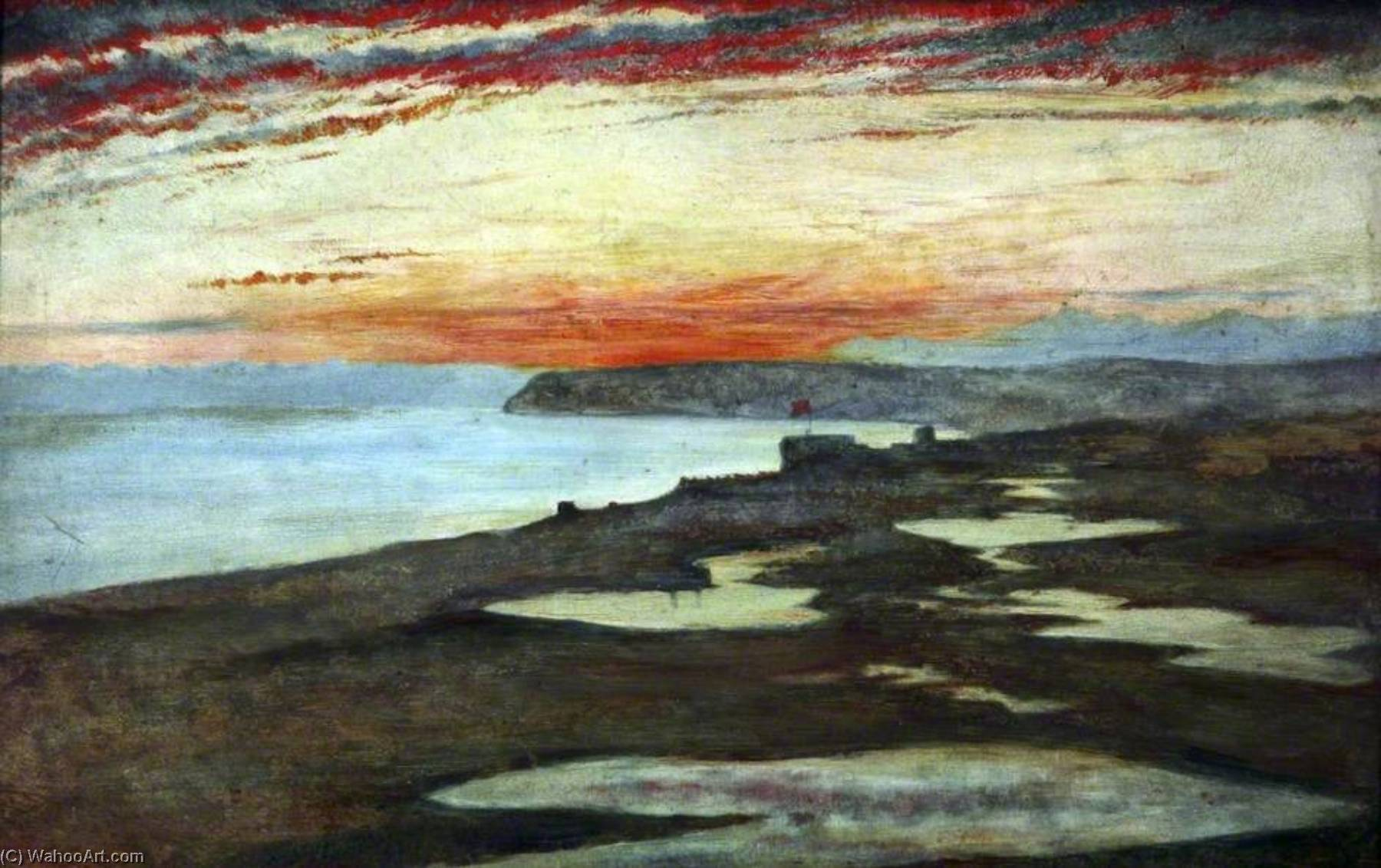 A Coast Study, Sunset, Seaford, 1859 by Henry Wallis (1830-1916) | Art Reproductions Henry Wallis | ArtsDot.com