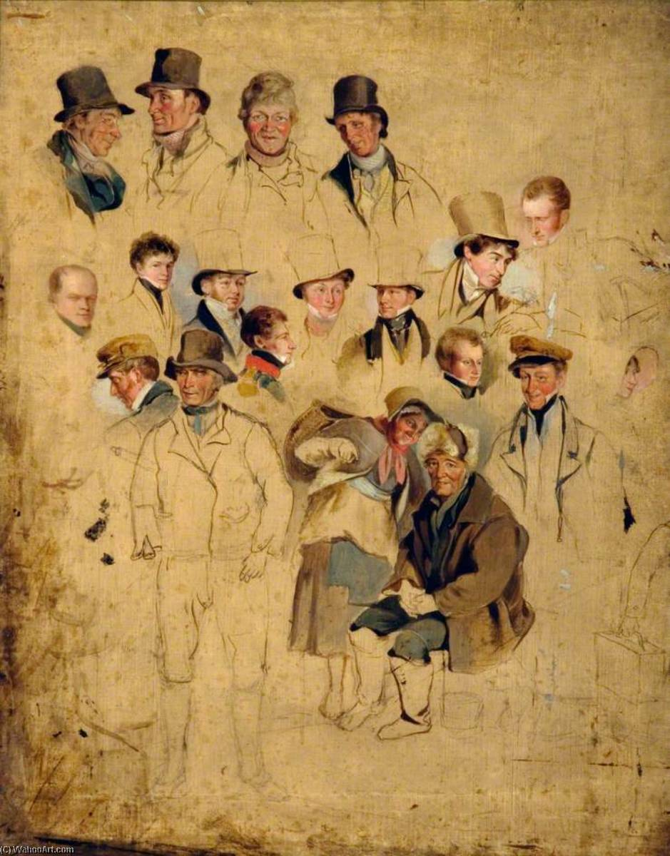 Caricatures from `The Cullercoats Party`, 1818 by Henry Perlee Parker | Museum Quality Reproductions | ArtsDot.com