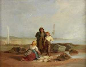 Henry Perlee Parker - Fisherfolk on a Beach
