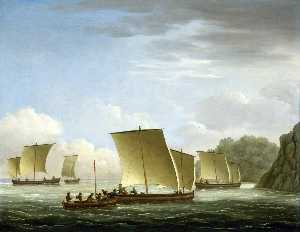 John Cleveley The Elder - The Yawl of the -Luxborough- Galley Arriving in Newfoundland, 7 July 1727