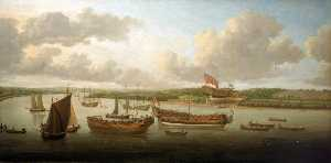 John Cleveley The Elder - Launch of a Fourth Rate on the River Orwell