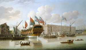 John Cleveley The Elder - The -St Albans- Floated out at Deptford, 1747