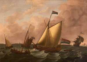 John Cleveley The Elder - Dutch Ships Going before the Wind
