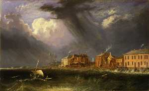 John Berney Crome - Great Gale at Yarmouth on Ash Wednesday