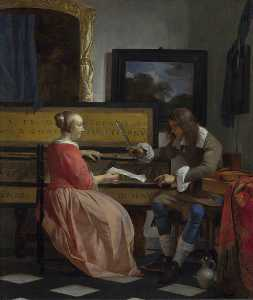 Gabriel Metsu - A Man and a Woman seated ..