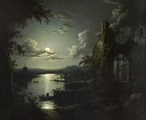 Sebastian Pether - Moonlit Lake with a Ruined Gothic Church, a Church and Boatmen