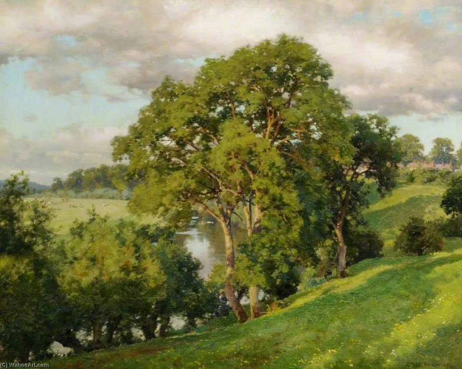 Ash Trees at Cropthorne, Worcestershire by Alfred William Parsons (1847-1920) | Museum Art Reproductions | ArtsDot.com