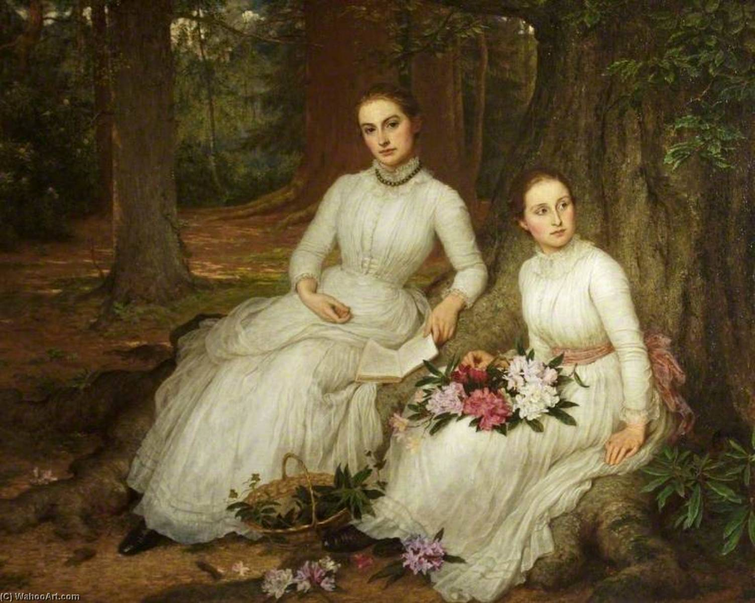 Kathleen (d.1946), and Marianne (d.1943), the Daughters of Samuel Gurney Sheppard, 1888 by Louisa Starr Canziani (1845-1909, United Kingdom) | Reproductions Louisa Starr Canziani | ArtsDot.com
