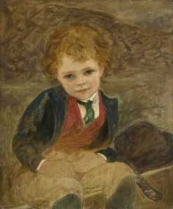 Louisa Starr Canziani - Study of a Boy Sitting in..