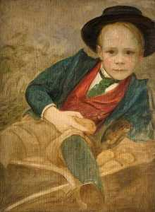 Louisa Starr Canziani - Study of a Boy Sitting on..