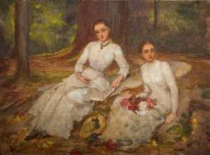 Louisa Starr Canziani - Two Women in White Seated..