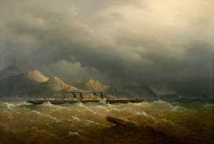 Richard Brydges Beechey - Paddle Steamer -Leinster- Leaving Holyhead