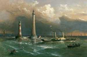 Richard Brydges Beechey - HMS -Vivid- Passing the Old and New Eddystone Lighthouses, the Channel Squadron in the Distance