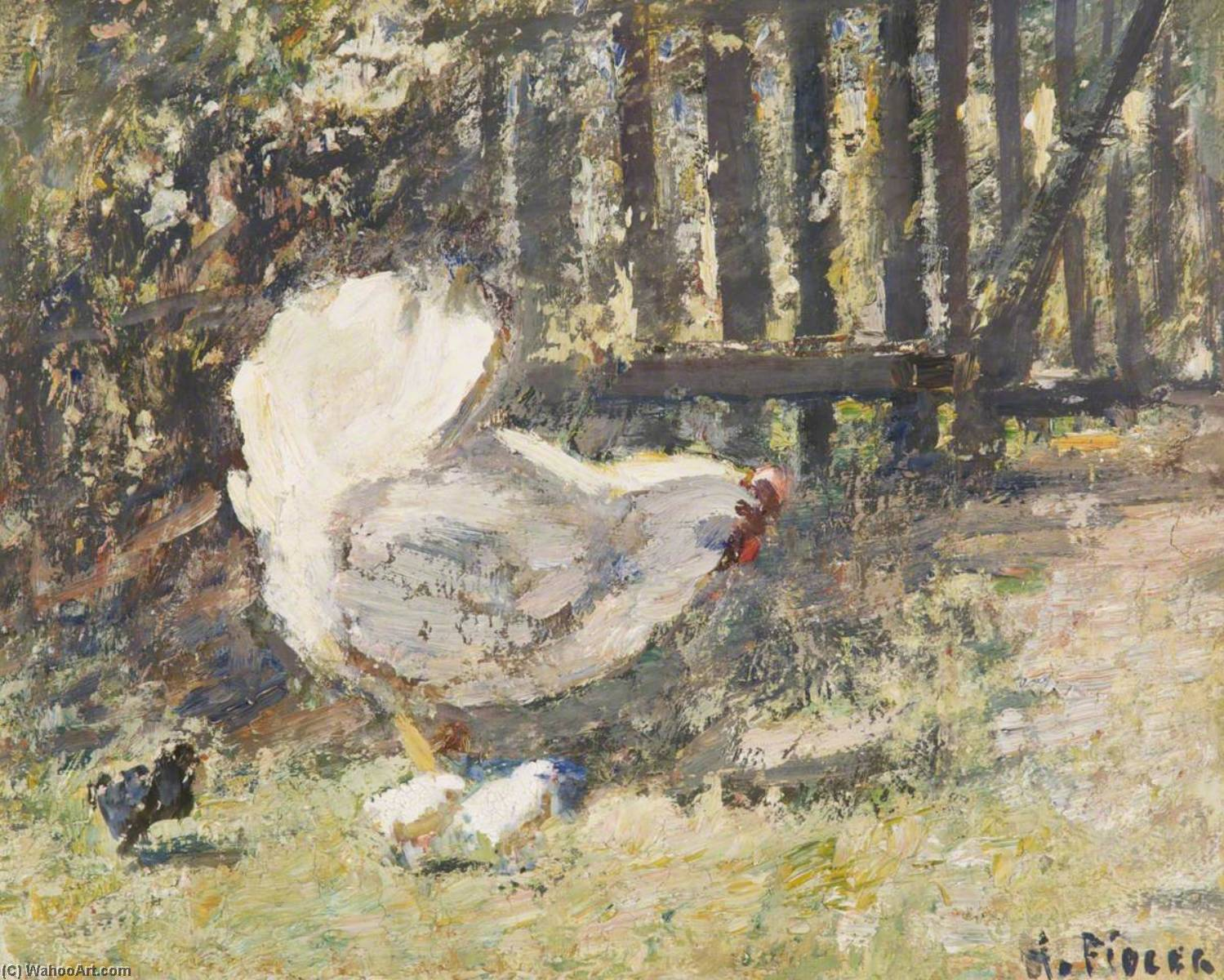Chickens by Harry Fidler (1856-1935, United Kingdom) | Oil Painting | ArtsDot.com