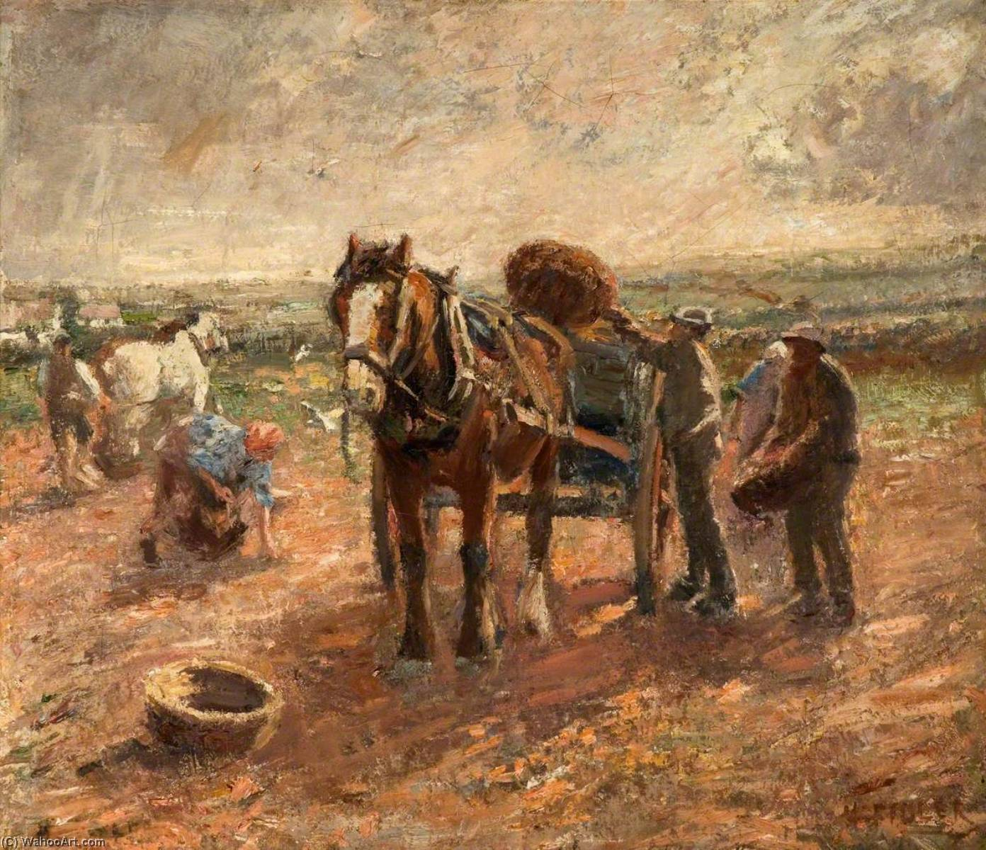 Clearing the Potato Field by Harry Fidler (1856-1935, United Kingdom) | Museum Quality Reproductions | ArtsDot.com