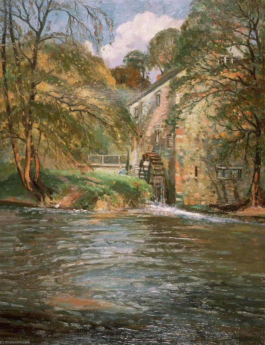 Autumn on the Monnow, 1940 by Donald Henry Floyd (1892-1965) | Oil Painting | ArtsDot.com