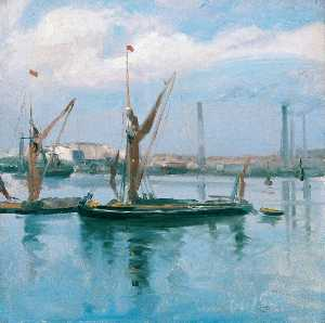 Théodore Casimir Roussel - Rochester Harbour, a Sept..