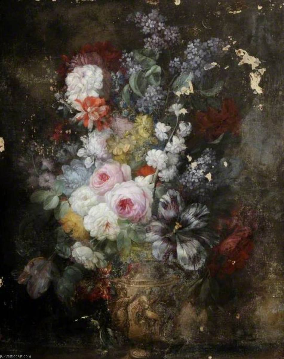 Order Painting Copy : Flowers in a Sculptured Vase by Jacob Van Huysum (1687-1740) | ArtsDot.com