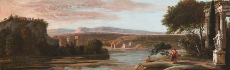 Order Museum Quality Reproductions : River Landscape with Classical Ruins and a Castle, 1673 by Hendrick Danckerts (1625-1680) | ArtsDot.com