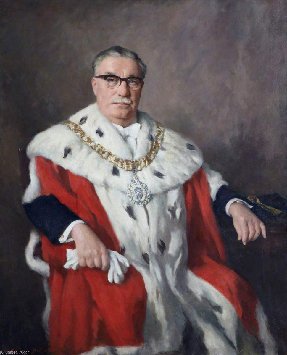 Sir Herbert Archbold Brechin, KBE, DLitt, Lord Provost of Edinburgh (1966–1969) by Henry Raeburn Dobson | Paintings Reproductions Henry Raeburn Dobson | ArtsDot.com