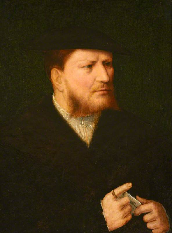 Portrait of an Unknown Man in Black with a Letter, 1537 by Joos Van Cleve (1485-1540, Germany) | Museum Art Reproductions | ArtsDot.com