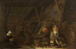 Herman Saftleven The Younger - A Barn with a Still Life of Kitchen Utensils and a Sleeping Cook