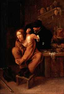 Gerrit Lundens - A Surgeon Applying Medicine to a Wound in the Shoulder of a Man in Pain