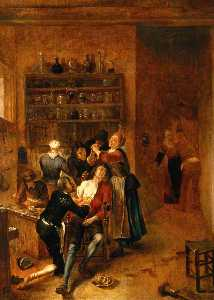 Gerrit Lundens - Interior with a Surgeon A..