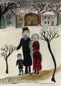 Dora Holzhandler - Jewish Family in the Snow