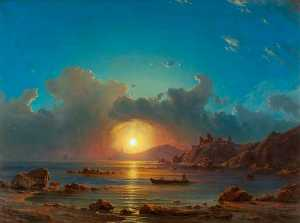 Georg Emil Libert - Sunset on a Bay, with Castle Ruins