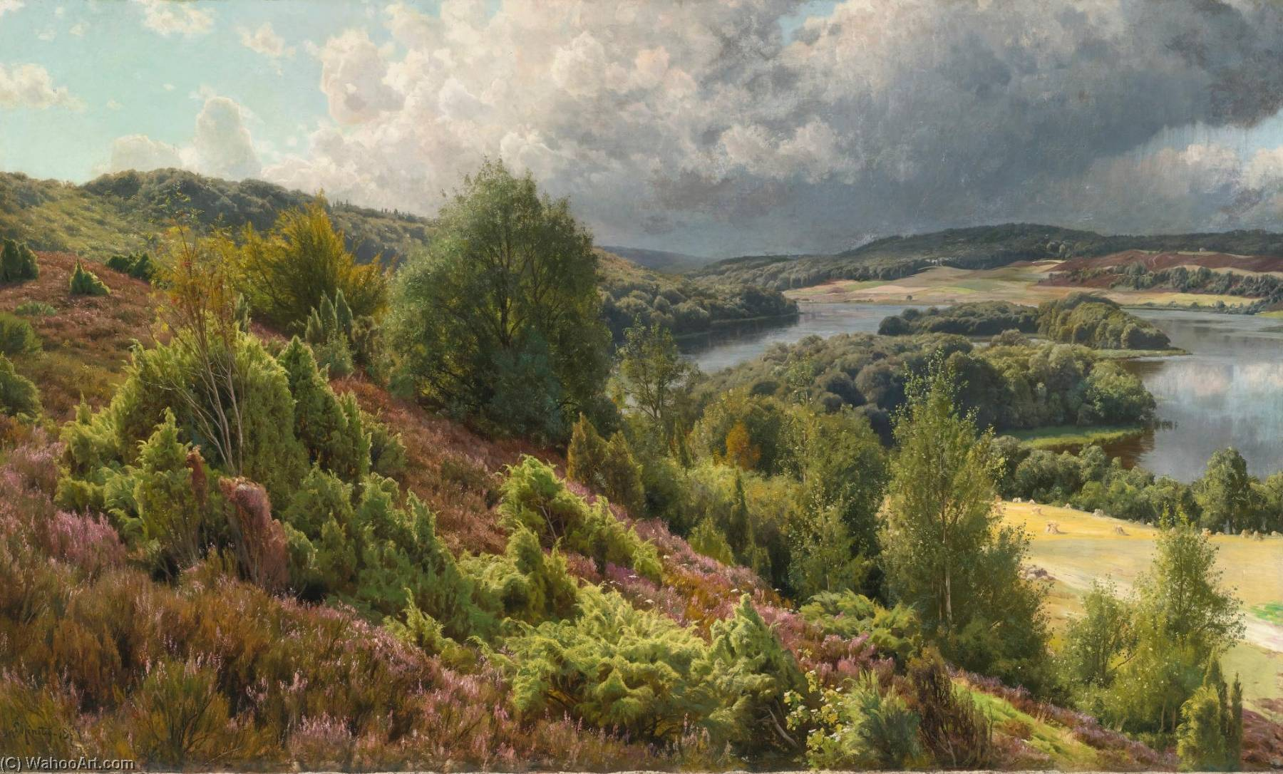 Order Art Reproductions | Heather Covered Hills by the Lakes Near Silkeborg by Peder Mork Monsted (1859-1941, Denmark) | ArtsDot.com