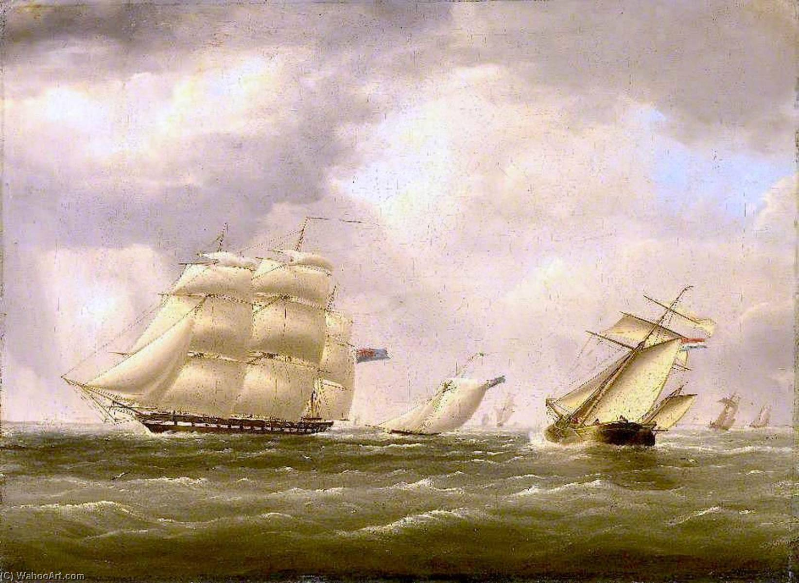 HMS `Warspite` 50 Guns Conveying Lord Ashburton on a Special Mission to the United States, Beating D by Nicholas Matthew Condy (1816-1851) | Art Reproduction | ArtsDot.com