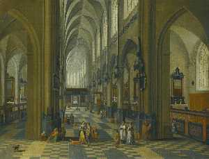 Pieter Neefs The Elder - Interior of a gothic cathedral with figures promenading in the aisle