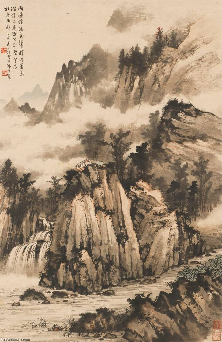 STREAMS AND MOUNTAINS AFTER RAIN by Huang Junbi | Paintings Reproductions Huang Junbi | ArtsDot.com