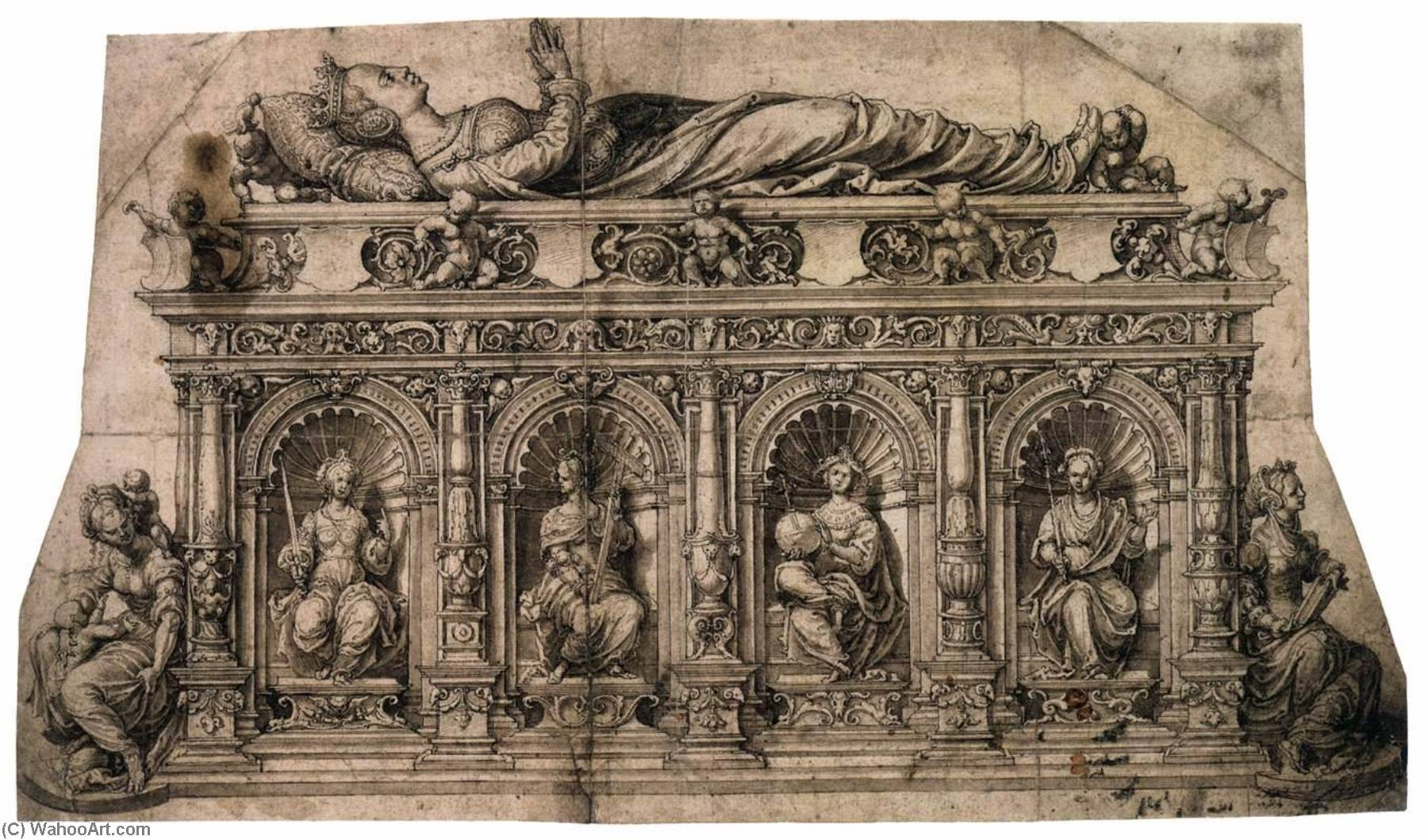 Design for the Tomb of Isabella of Austria, 1526 by Jan Gossart | Museum Quality Reproductions | ArtsDot.com