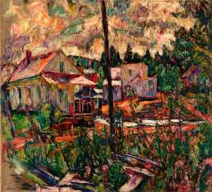 Abraham Manievich - Houses in the Woods