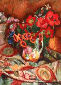 Abraham Manievich - Flowers on a Patterned Tablecloth