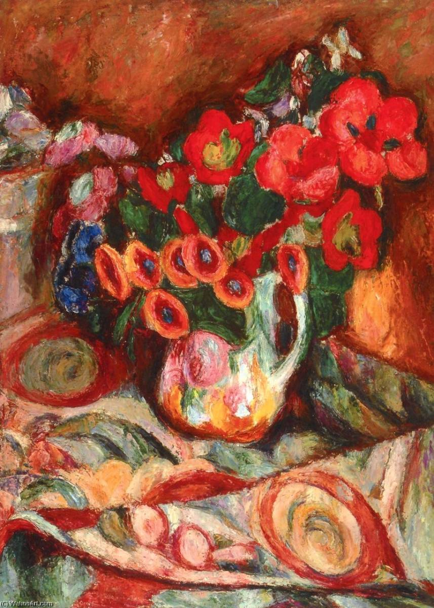 Flowers on a Patterned Tablecloth, 1930 by Abraham Manievich | Museum Quality Reproductions | ArtsDot.com