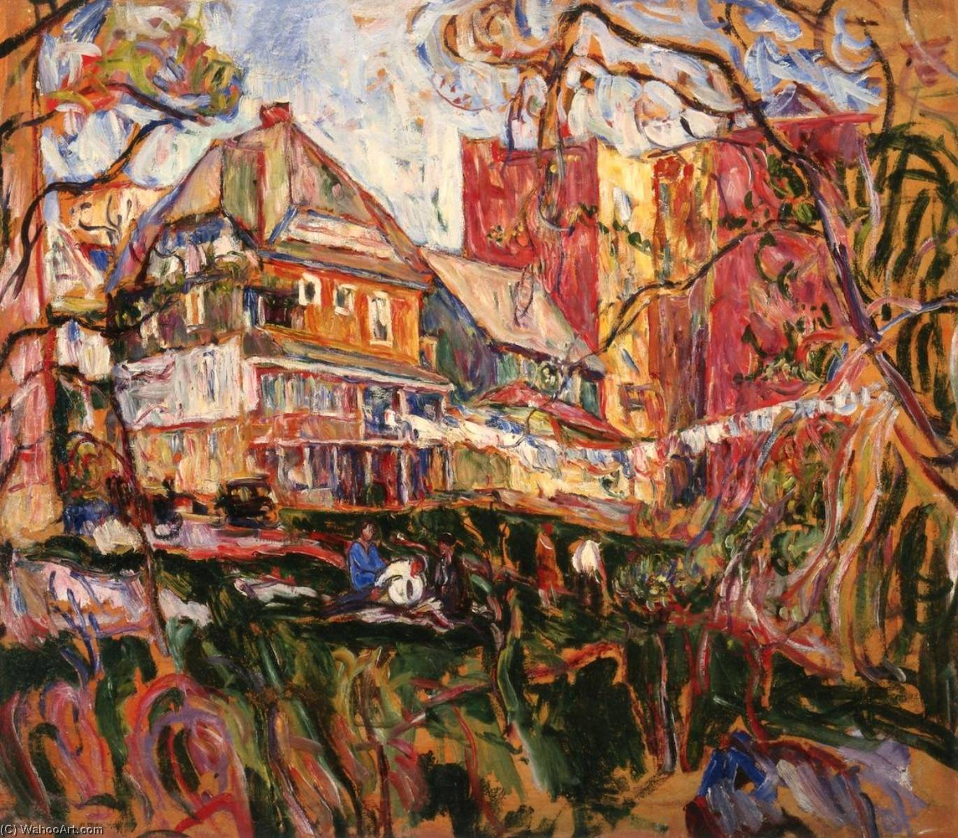 Houses, Bronx, New York, 1925 by Abraham Manievich | Museum Art Reproductions | ArtsDot.com