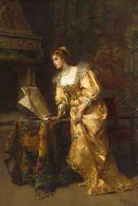 Cesare Augusto Detti - An Elegant Lady Reading M..