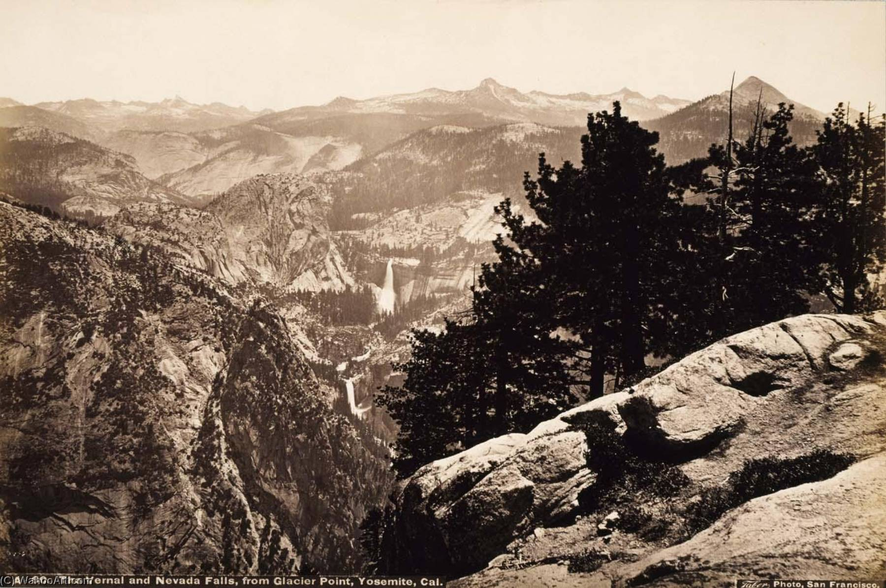 Order Painting Copy : The Vernal and Nevada Falls, from Glacier Point, Yosemite, 1875 by Carleton Emmons Watkins (1829-1916, United States) | ArtsDot.com