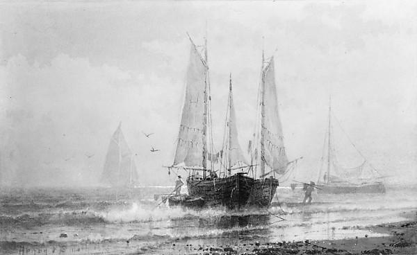 Seascape—Fishing Boats by the Shore, 1875 by Henry Pember Smith | Museum Quality Reproductions | ArtsDot.com