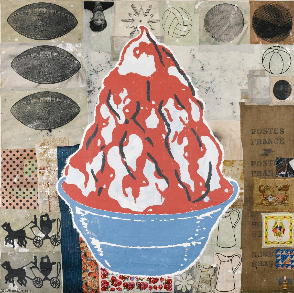 Red Sundae (The Blue Bowl) by Donald Baechler | Paintings Reproductions Donald Baechler | ArtsDot.com