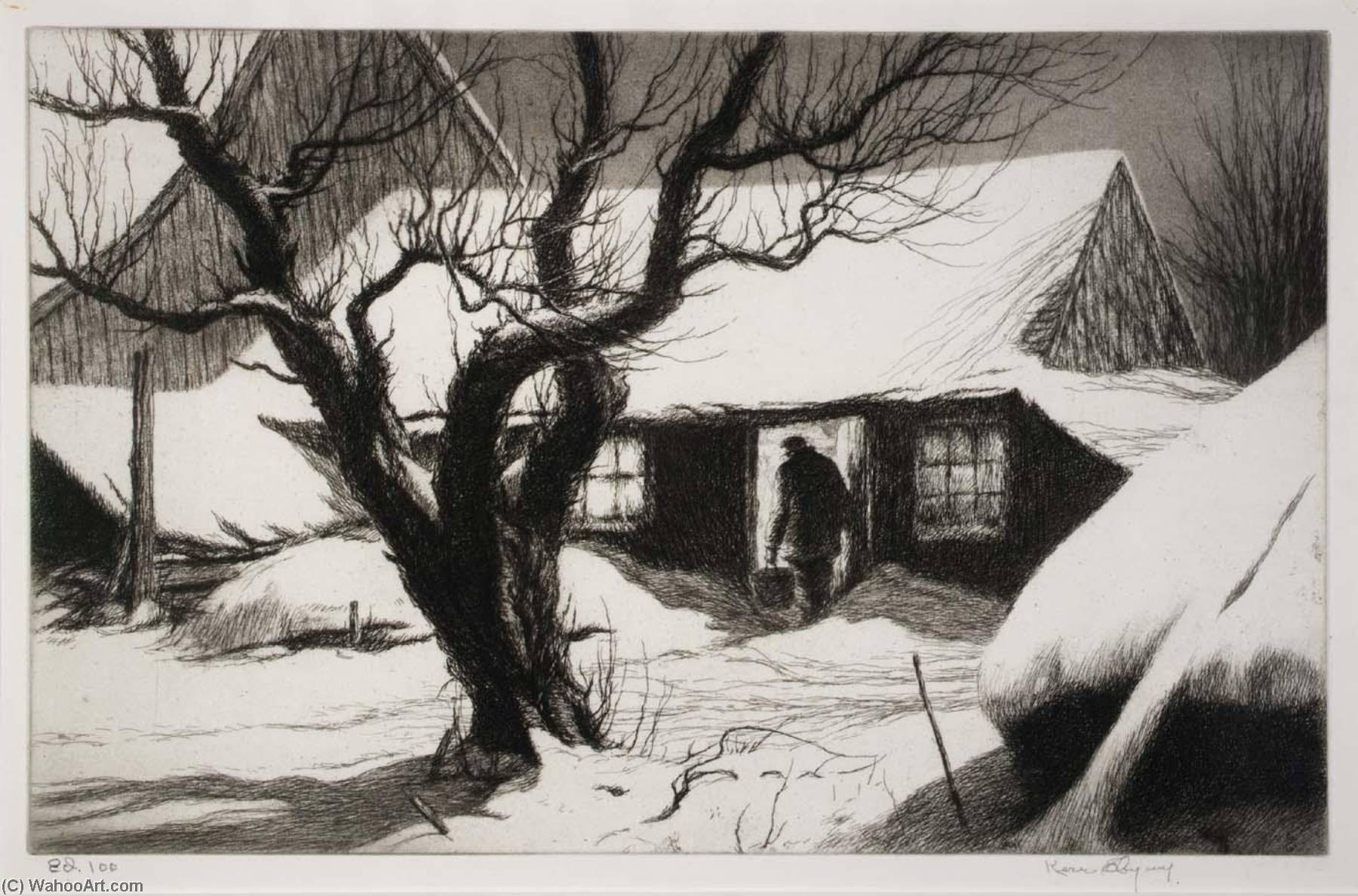 Cow Shed, Friendship, Maine, 1941 by Kerr Eby | Museum Art Reproductions | ArtsDot.com